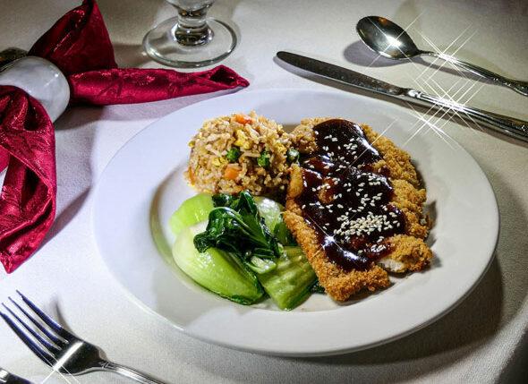 Chicken Katsu – crispy chicken with a katsu (Japanese-style BBQ) sauce, served with fried rice and garlic bok choy