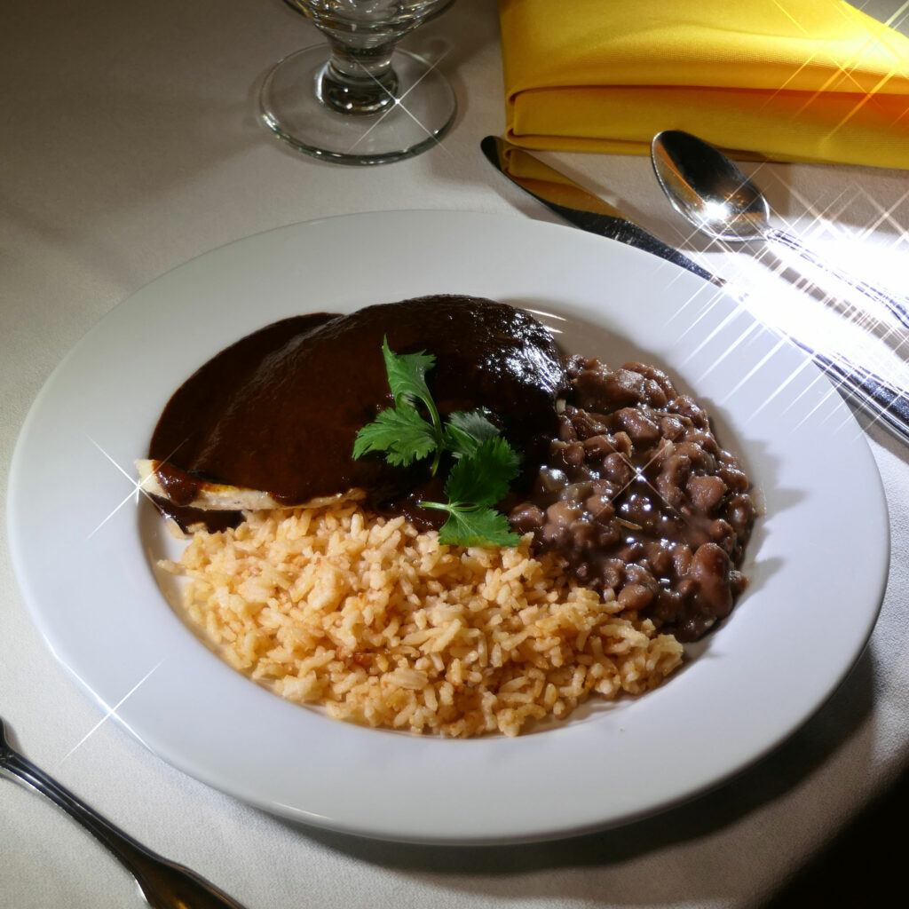 Chicken Mole - Chicken mole (sweet and spicy sauce) with Mexican rice and beans